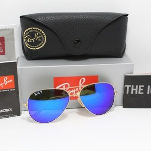 NEW!! RAY-BAN RB 3025 112/4L POLARIZED BLUE FLASH